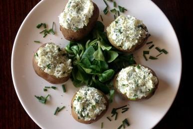 Patatas con cobertura de crema de queso