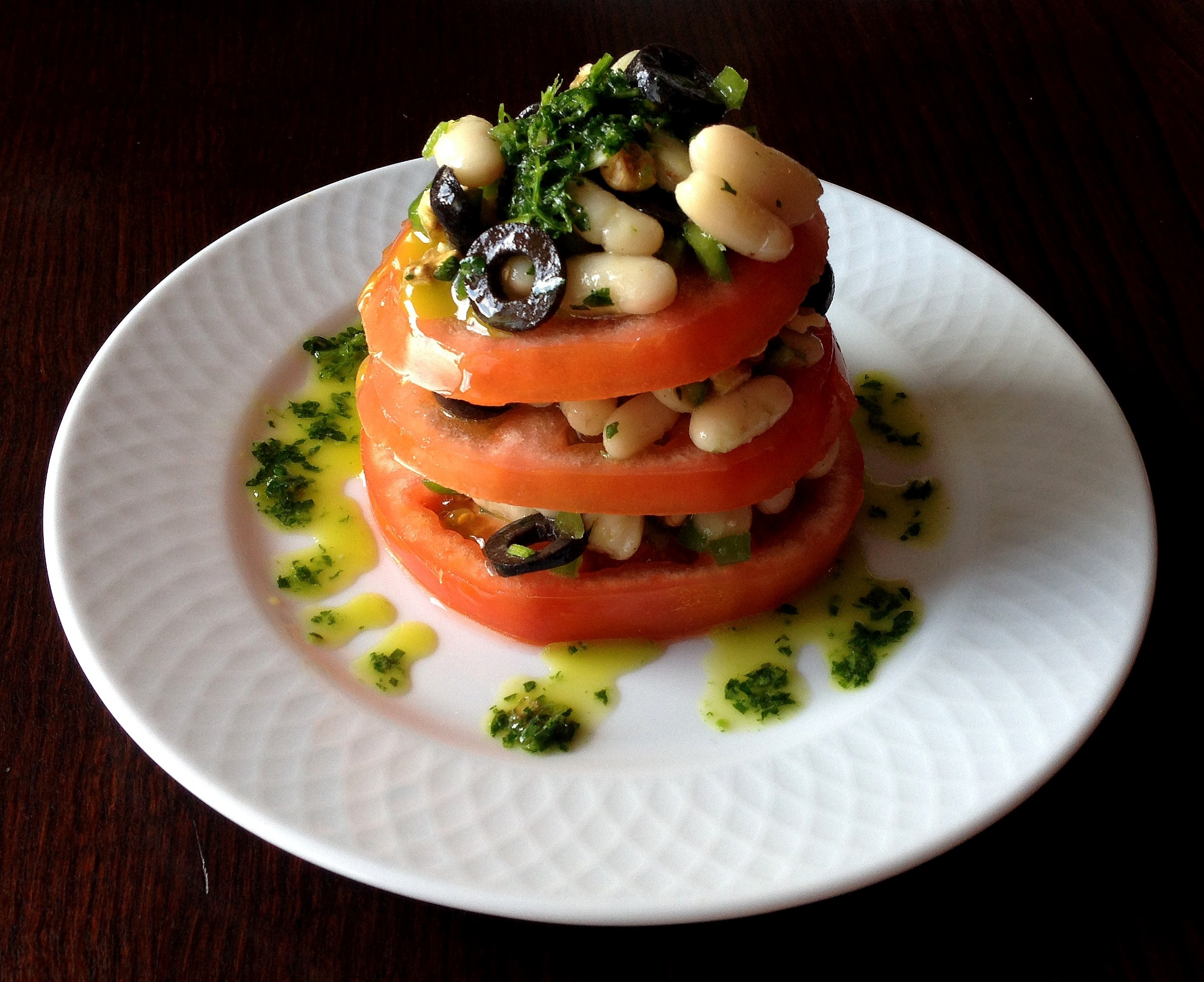 Timbal de tomate y alubias