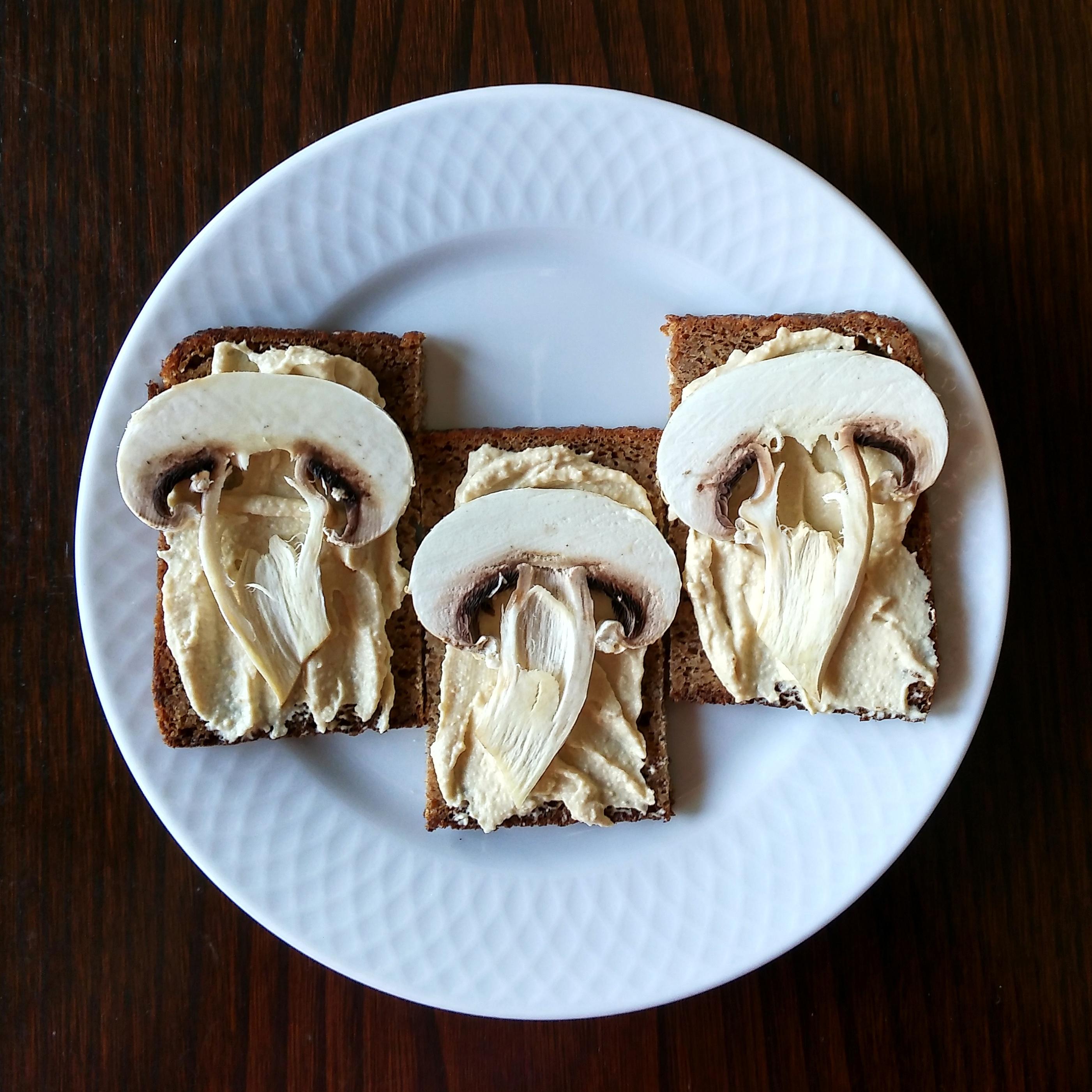Pan alemán con hummus y champiñón